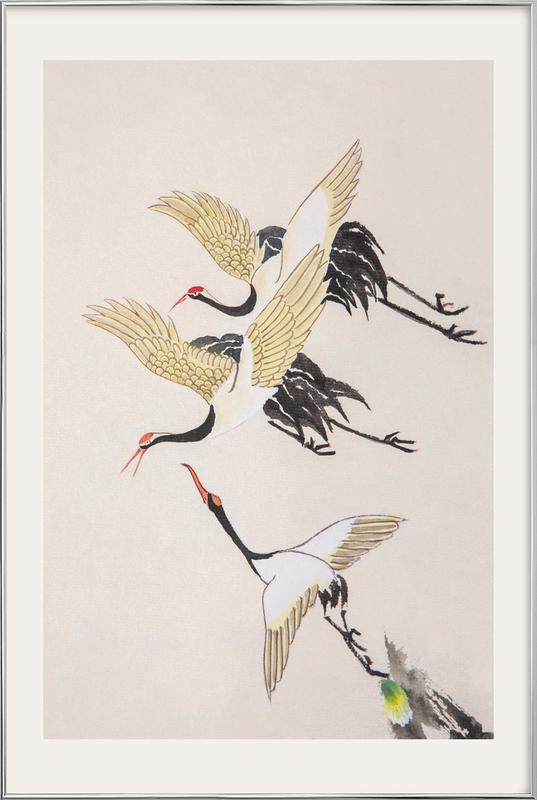 Swooping Cranes Poster in Aluminium Frame