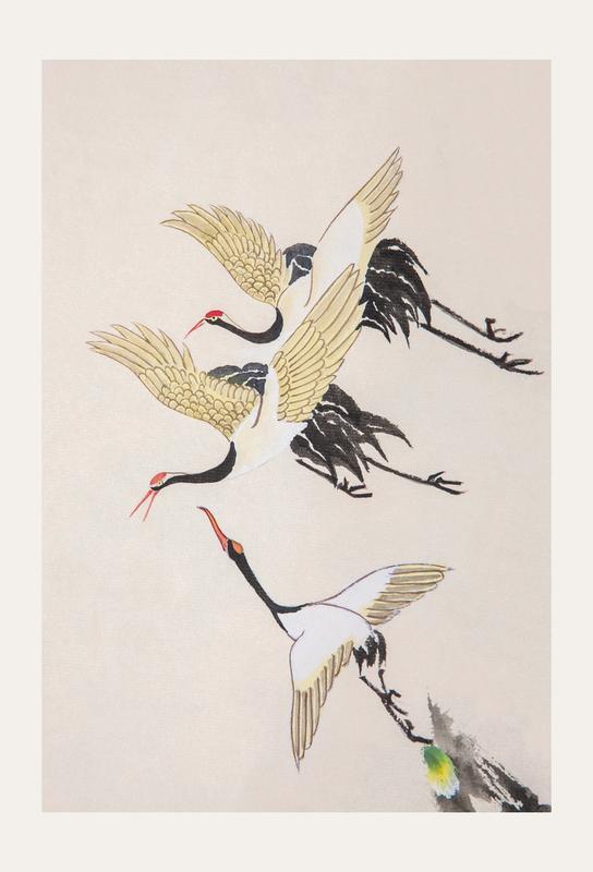 Swooping Cranes tableau en verre