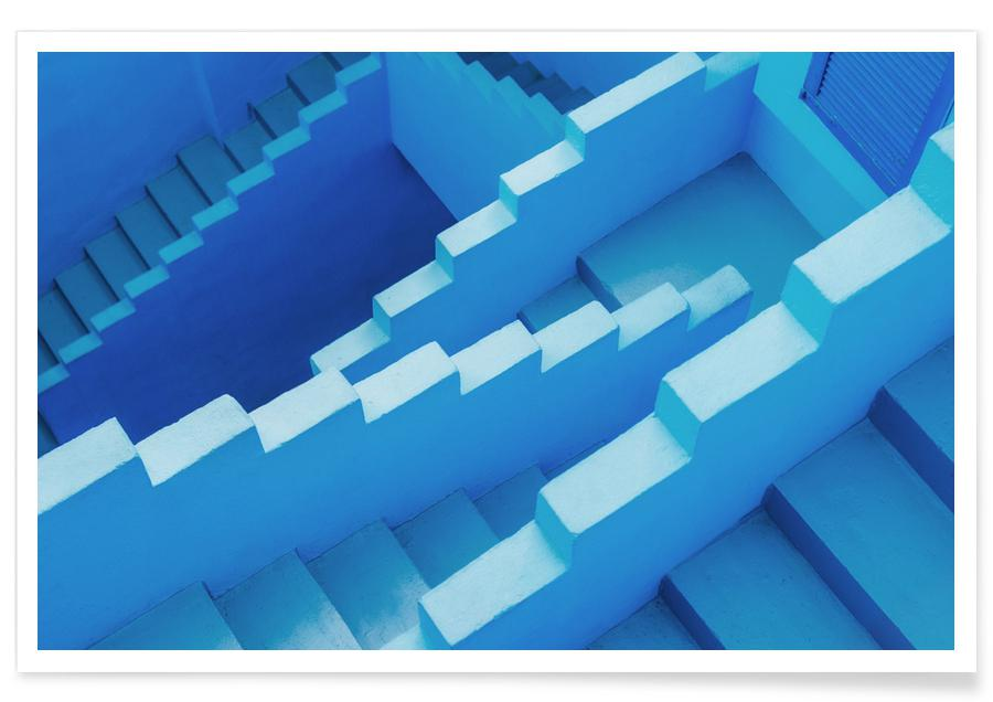 Architectural Details, Abstract Landscapes, Blue Maze Poster