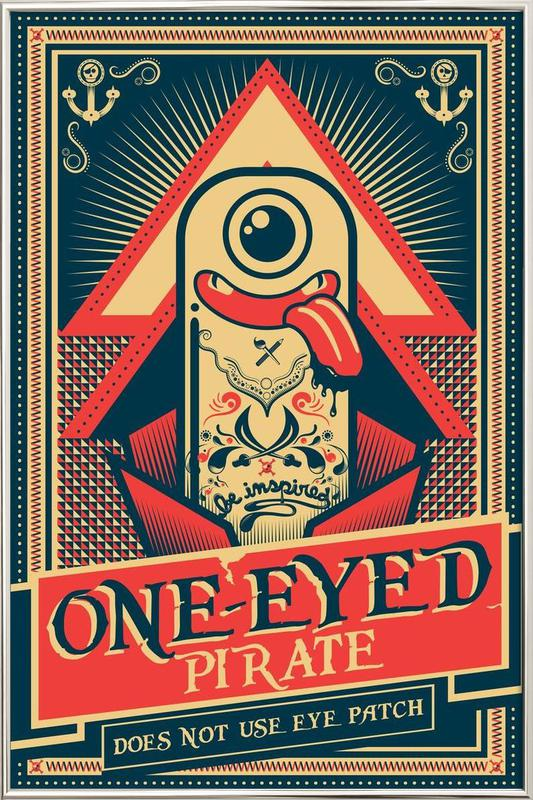 One-eyed pirate poster in aluminium lijst