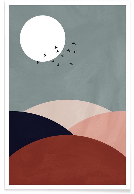 Paysages abstraits, Couchers de soleil, Montagnes, Lune, Hillscape II affiche