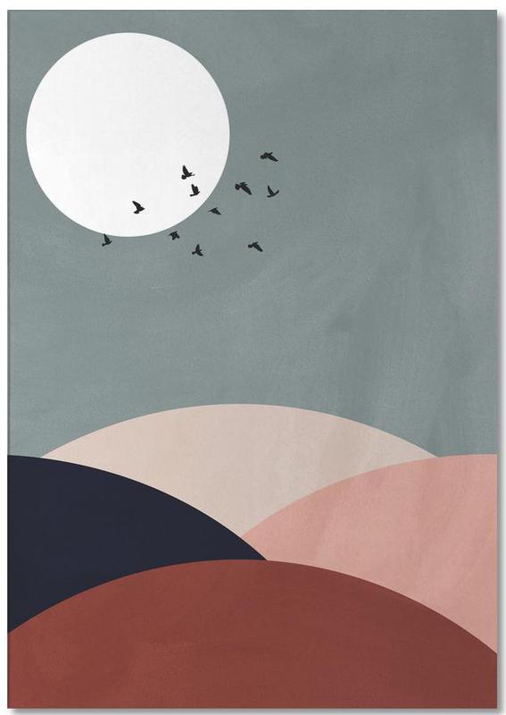 Mond, Sonnenuntergänge, Berge, Abstrakte Landschaften, Hillscape II -Notizblock
