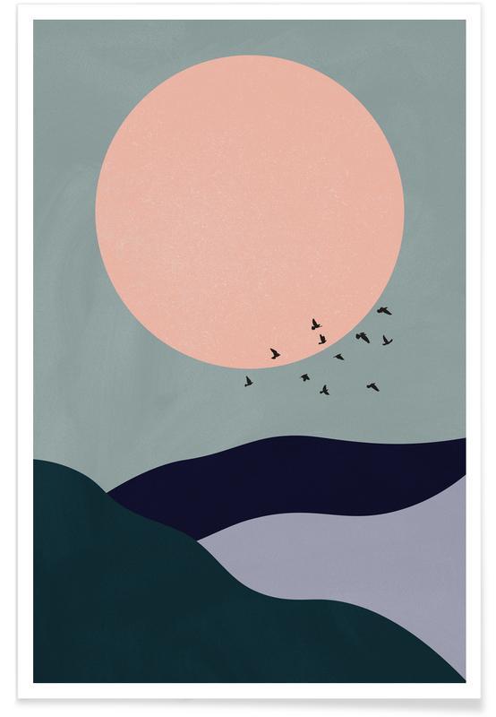 Abstrakte landskaber, Måne, Bjerge, Tidal Plakat