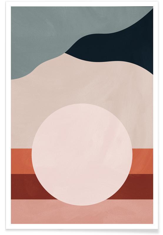 Abstrakte landskaber, Måne, Bjerge, Moonlight Plakat