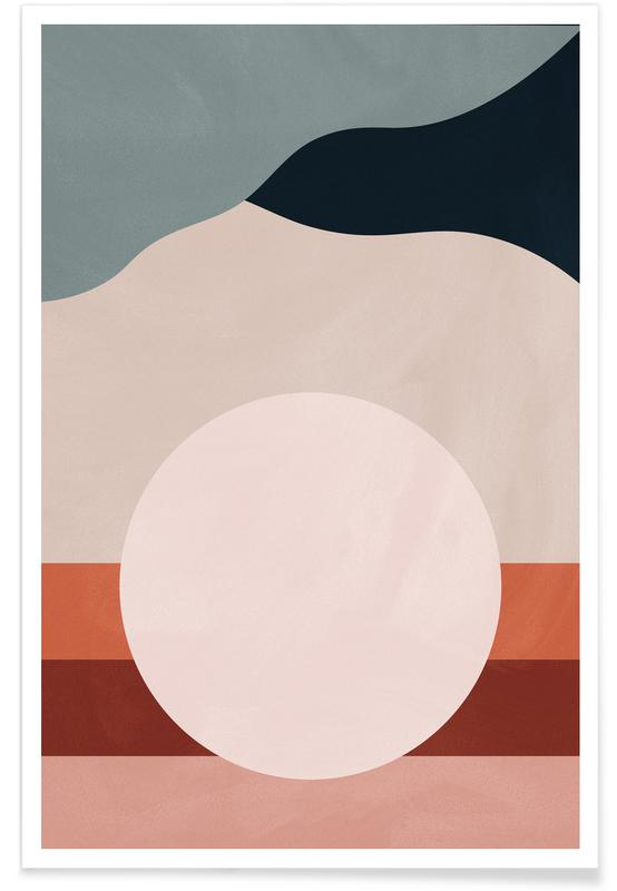Berge, Abstrakte Landschaften, Mond, Moonlight -Poster