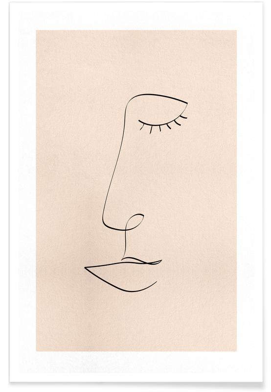 Sort & hvidt, Portrætter, Line Portrait Plakat