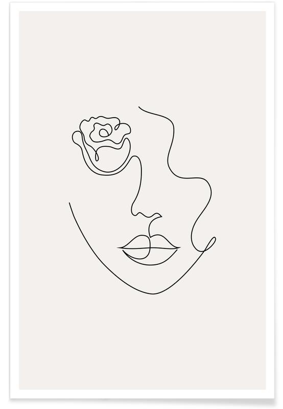 Sort & hvidt, Petal Plakat