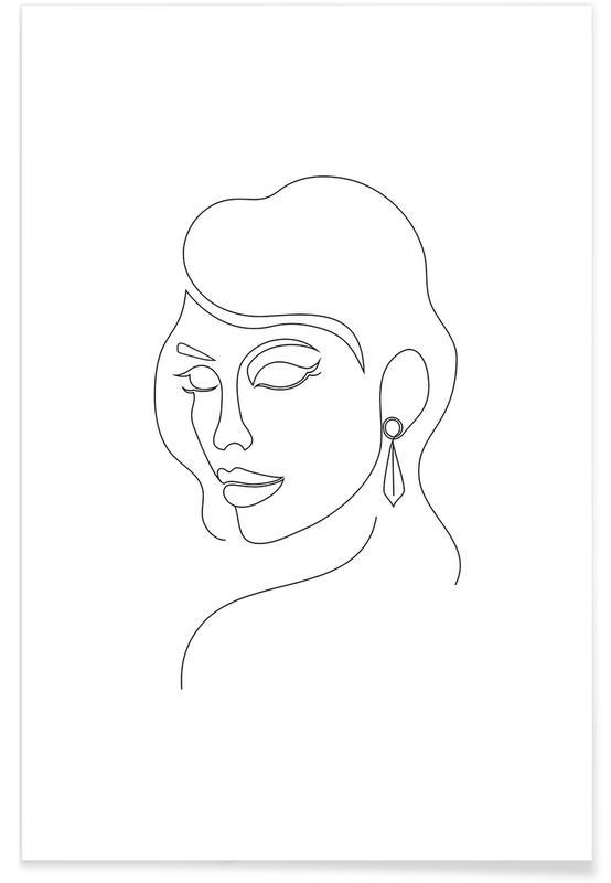 Black & White, Portraits, Averted Gaze Poster