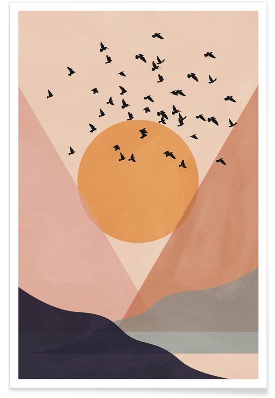 Abstrakte landskaber, Solnedgange, Sun Flock Plakat