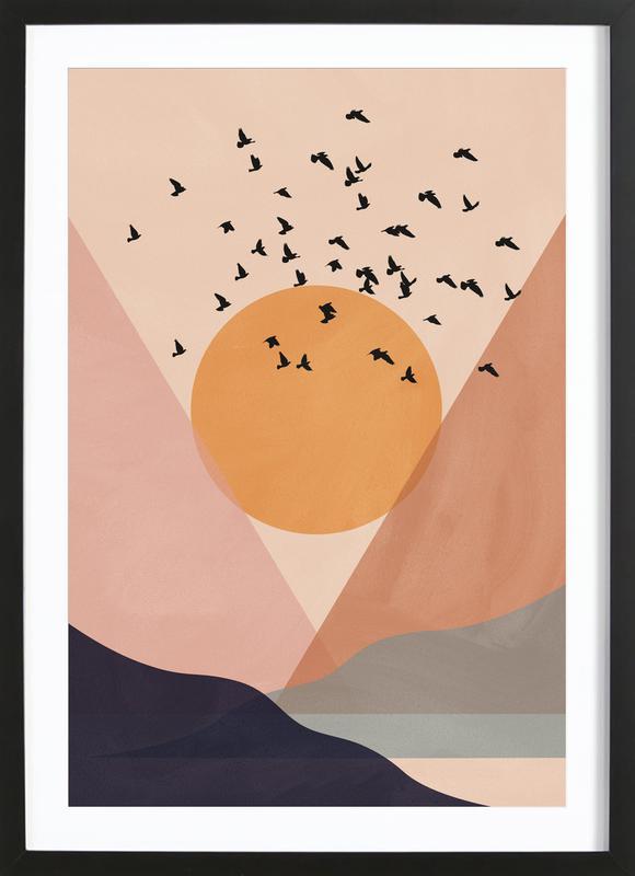 Sun Flock -Bild mit Holzrahmen