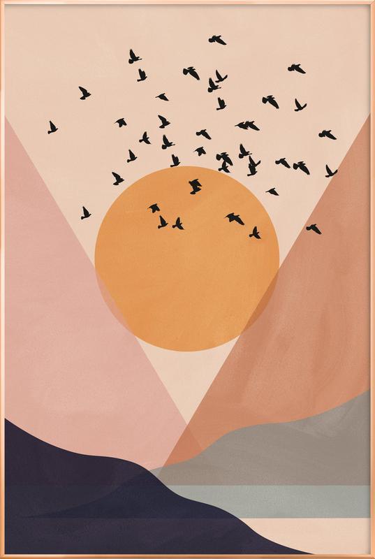 Sun Flock -Poster im Alurahmen