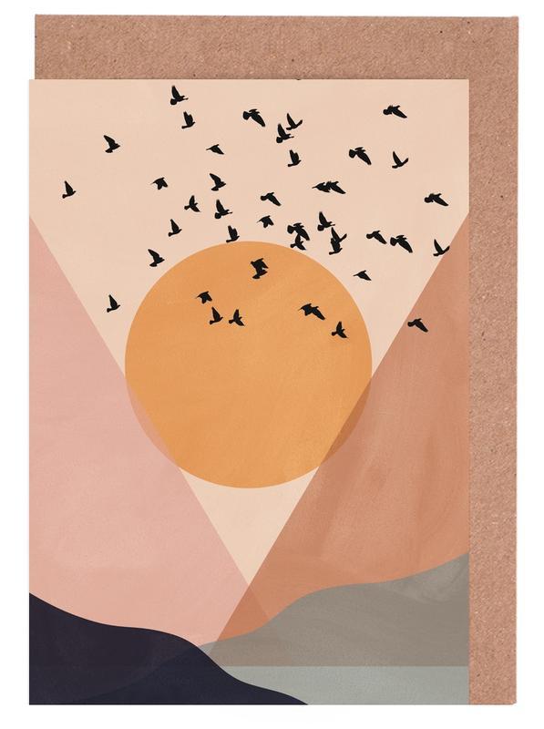 Abstrakte Landschaften, Sonnenuntergänge, Sun Flock -Grußkarten-Set