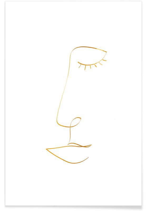 Portrætter, Line Portrait Guld Plakat