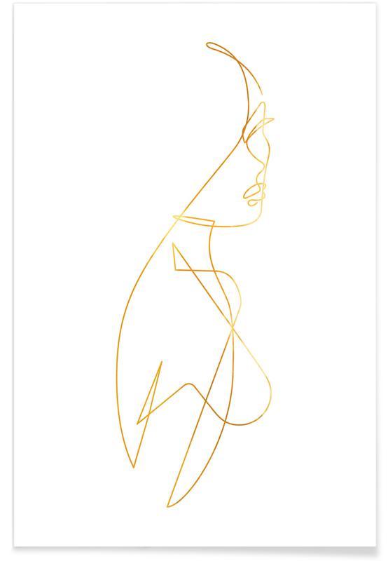 , Femme I Guld Plakat