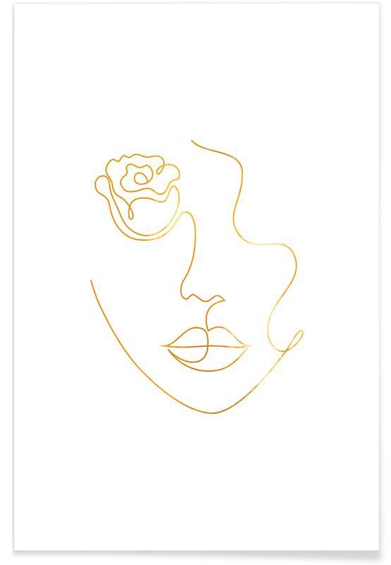 Porträts, Petal-Gold -Poster