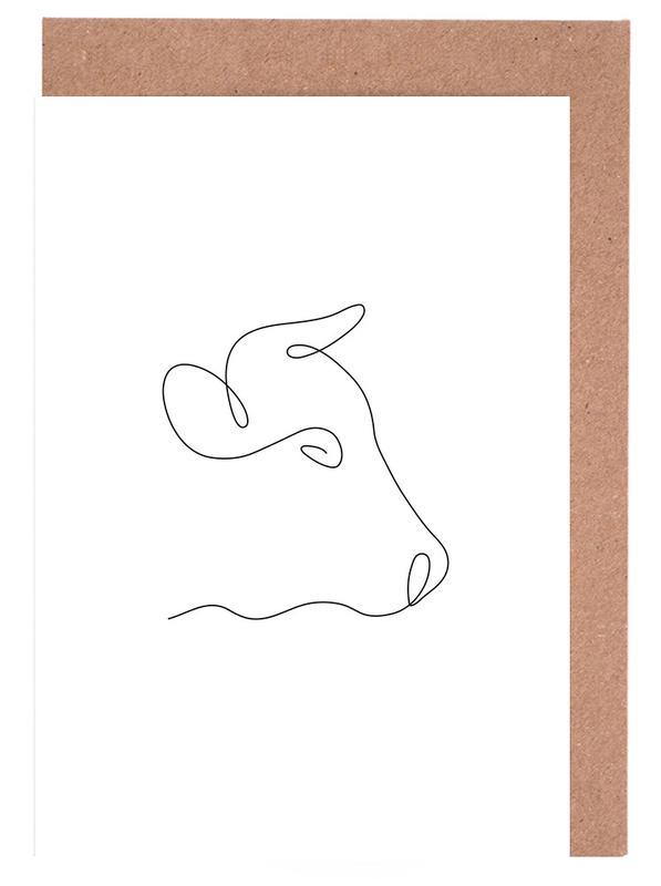 Kühe, Freehand Cow -Grußkarten-Set