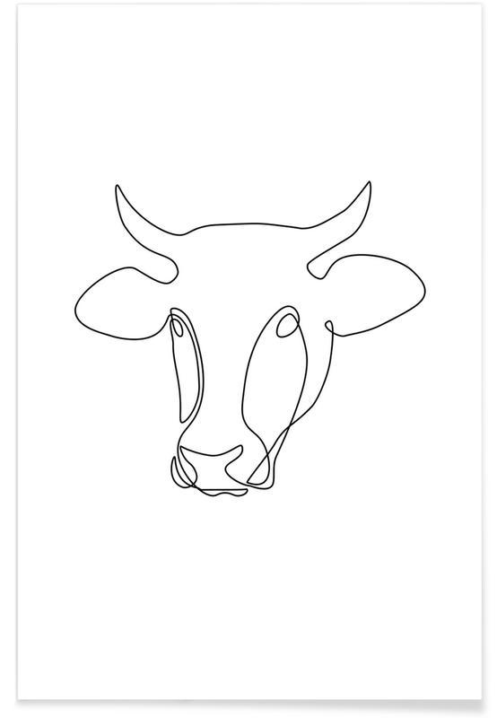 Kühe, Freehand Bull -Poster