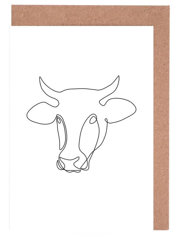 Kühe, Freehand Bull -Grußkarten-Set