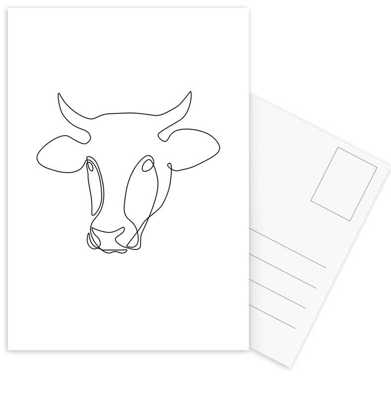 Cows, Freehand Bull Postcard Set