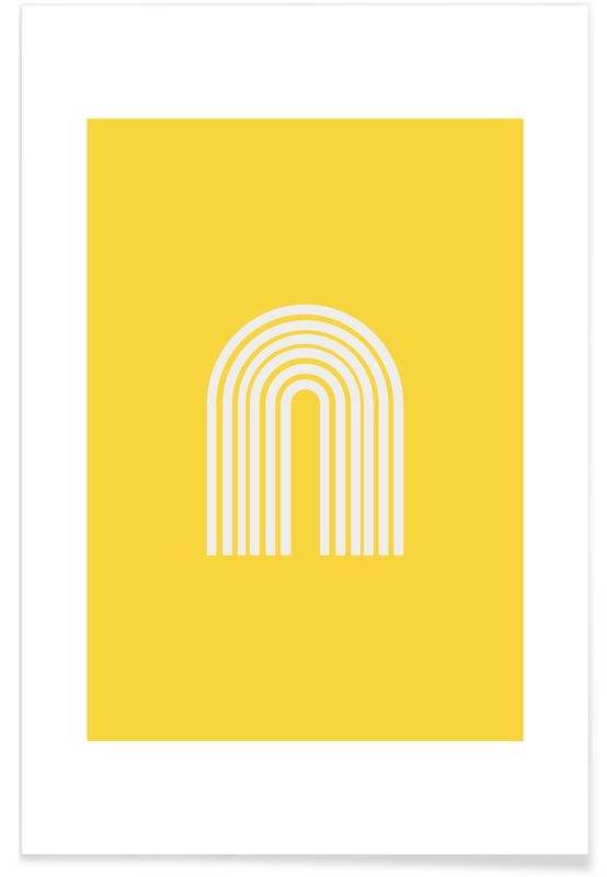 Abstract Landscapes, Rainbow in Yellow Poster