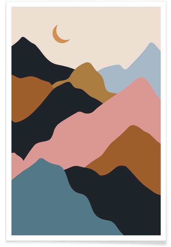 Bergen, Abstracte landschappen, Pastel Climb poster