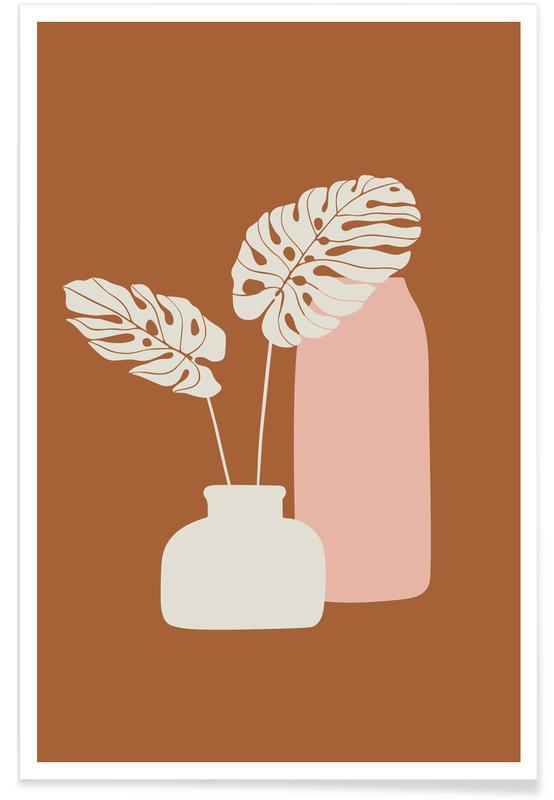 Feuilles & Plantes, Ochre Mostera affiche
