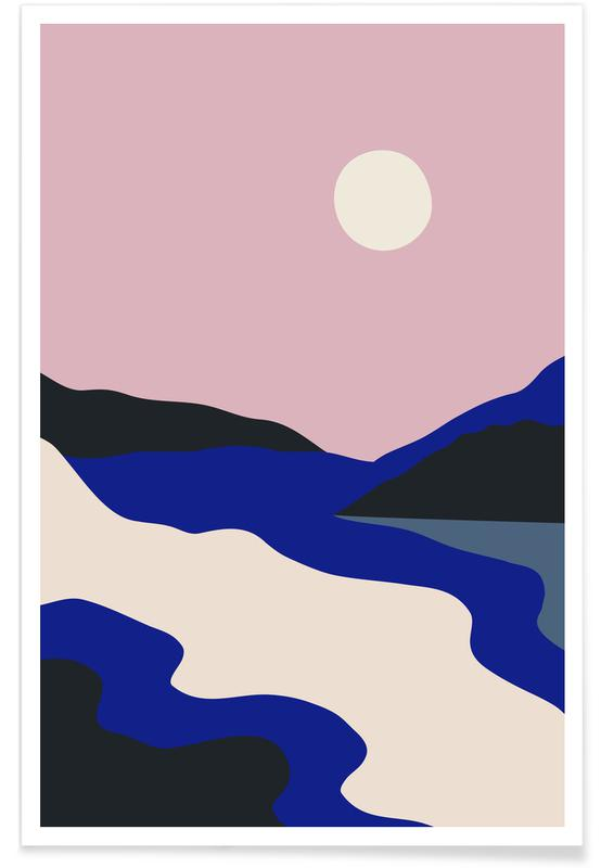 Mountains, Abstract Landscapes, Nightfall Poster