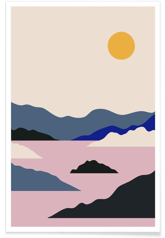 Abstracte landschappen, Bergen, Sunup poster