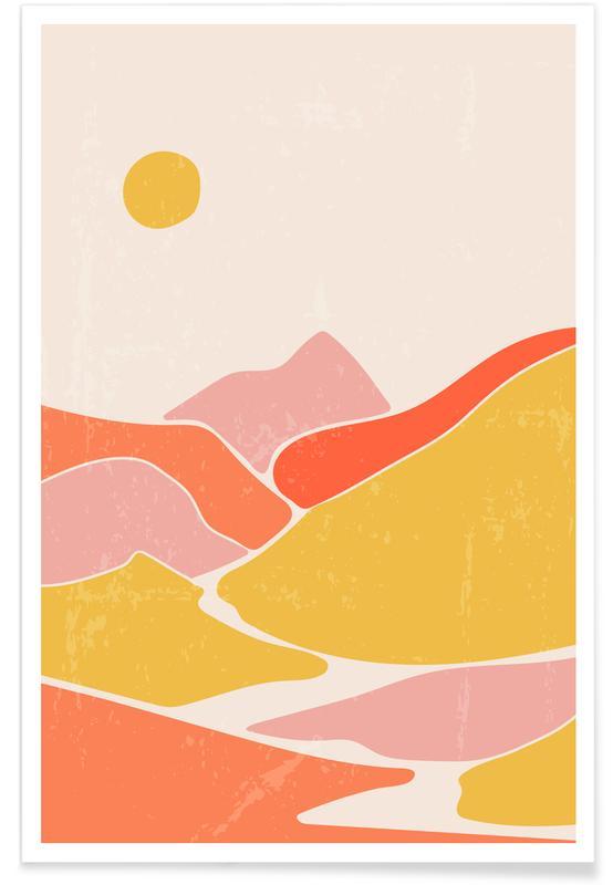 Paysages abstraits, Art pour enfants, Peak Sun affiche