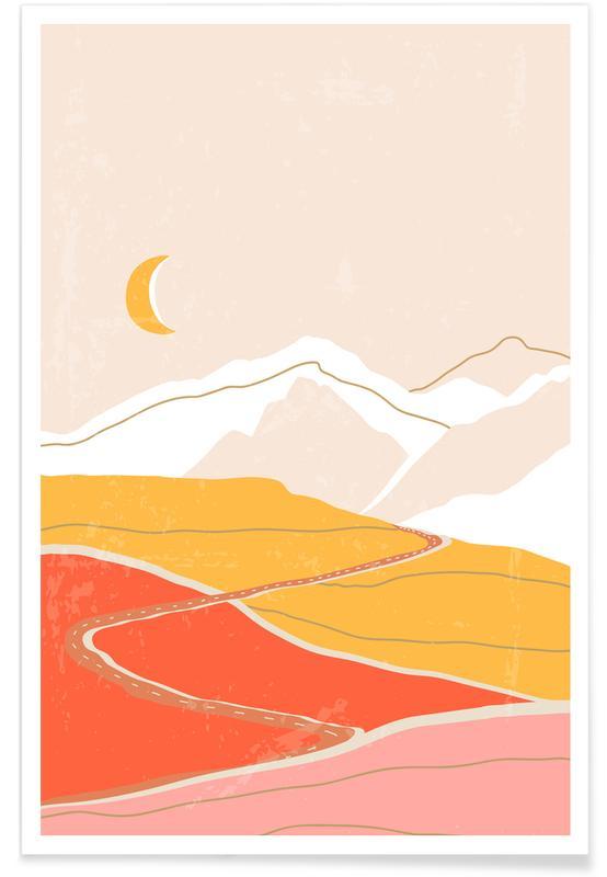 Berge, Sonnenuntergänge, Abstrakte Landschaften, Mond, Dusk Drive -Poster