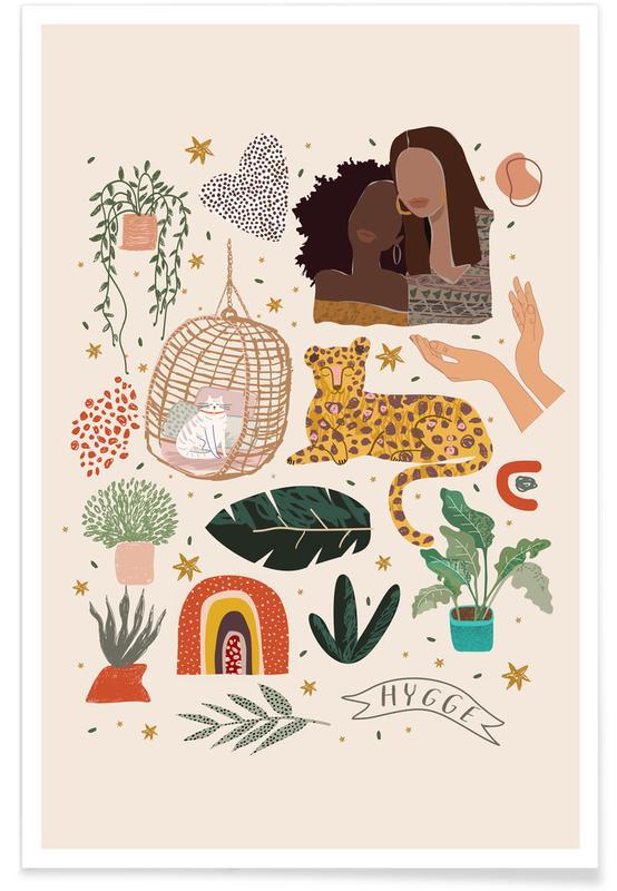 Art pour enfants, Chats, Feuilles & Plantes, A Millenial World affiche