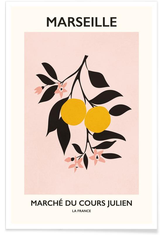Citrons, Marché aux fleurs, Feuilles & Plantes, Marché du Cours Julien affiche