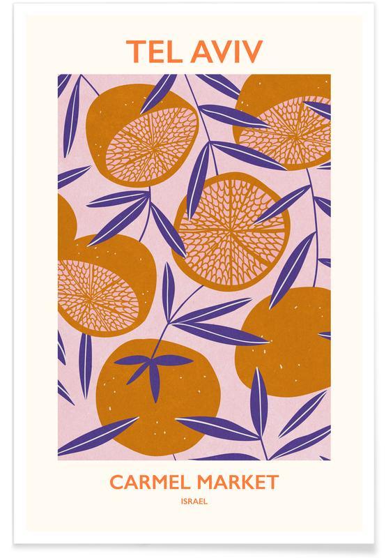Blätter & Pflanzen, Blumenmarkt, Pomegranates At Carmel Market -Poster