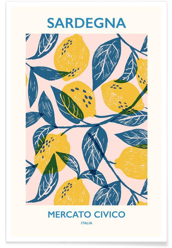 Blomstermarknad, Citroner, Mercato Civico Poster