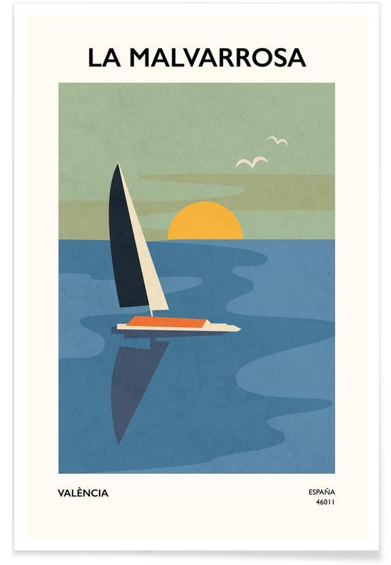 Sonnenuntergänge, Boote, Blumenmarkt, Malvarrosa -Poster