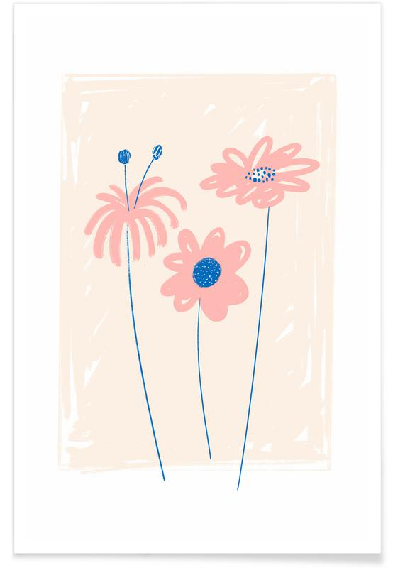 , Garden Flowers Pink affiche