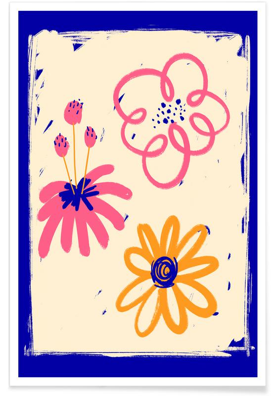, Neon Floral Poster