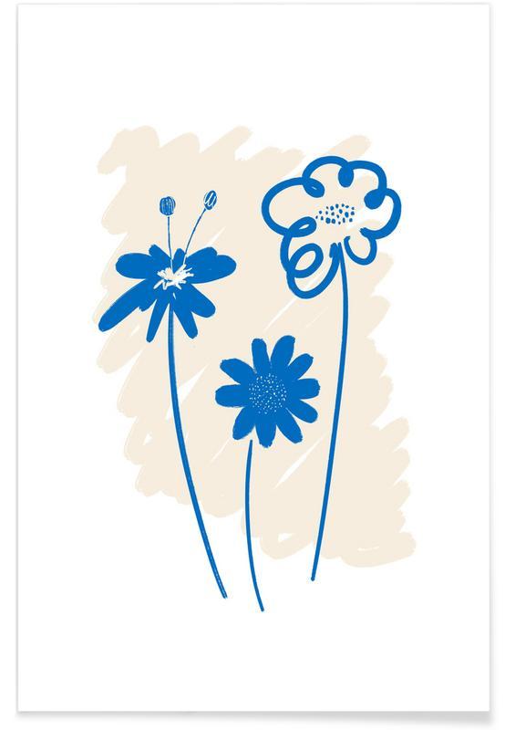 , Garden Flowers Blue affiche