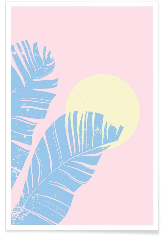 Bladeren en planten, Pastel Field poster