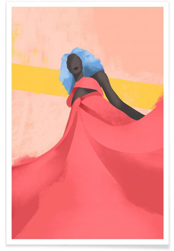 Portraits, Illustrations de mode, Fuchsia affiche