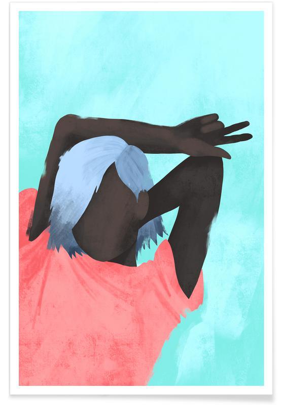 Portraits, Fashion Illustrations, Aquamarine Poster