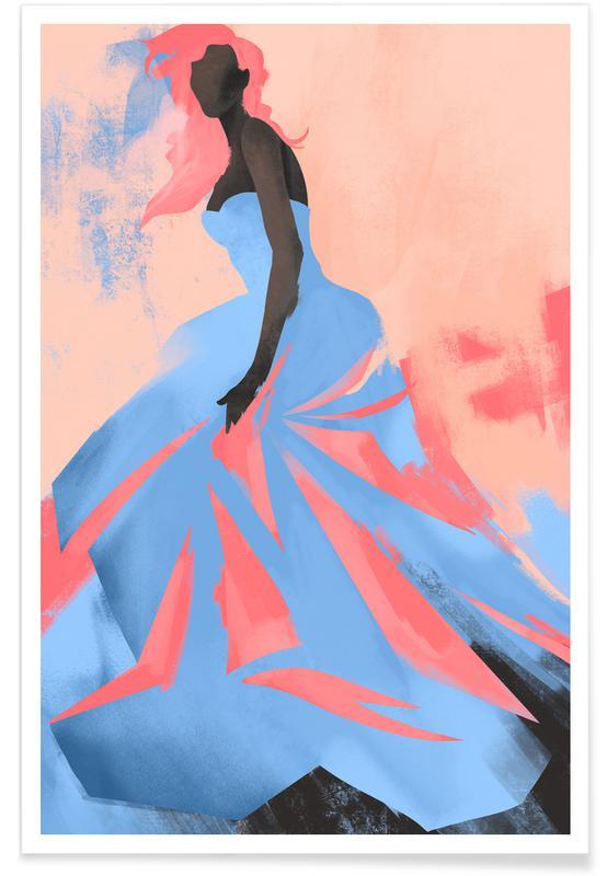 Portretten, Mode-illustratie, Sunset poster