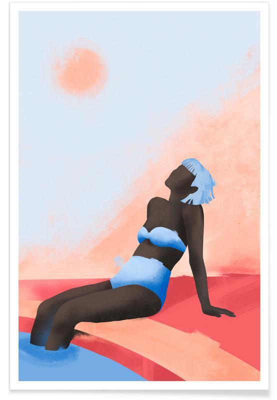 Portraits, Fashion Illustrations, Blue Terracotta Poster