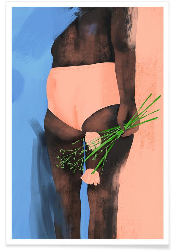 Portretten, Mode-illustratie, Petal Peach poster