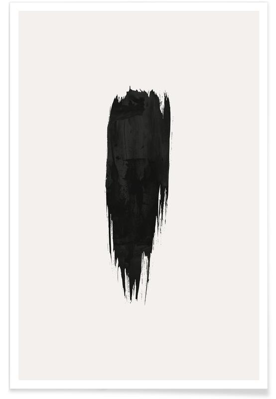 Sort & hvidt, Brushstroke III Plakat