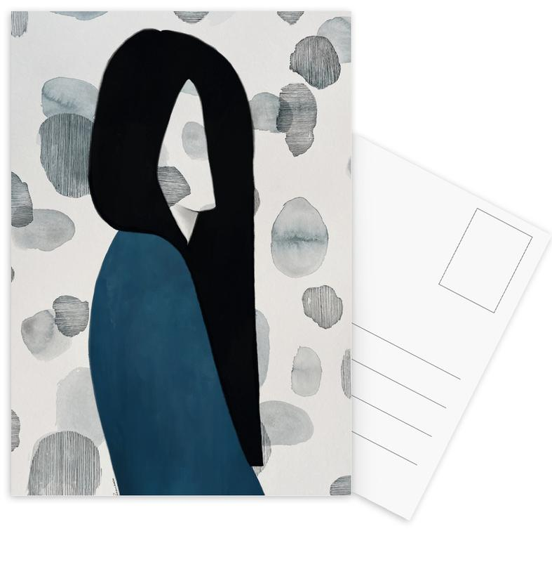 Porträts, Modeillustration, Reflections -Postkartenset