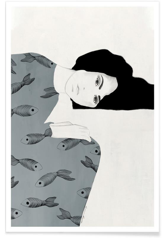 Porträts, Modeillustration, Fishy Mood II -Poster