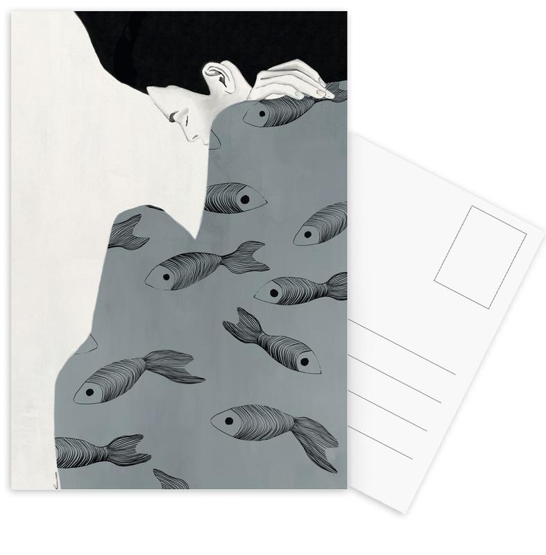 Porträts, Modeillustration, Fishy Mood II -Postkartenset
