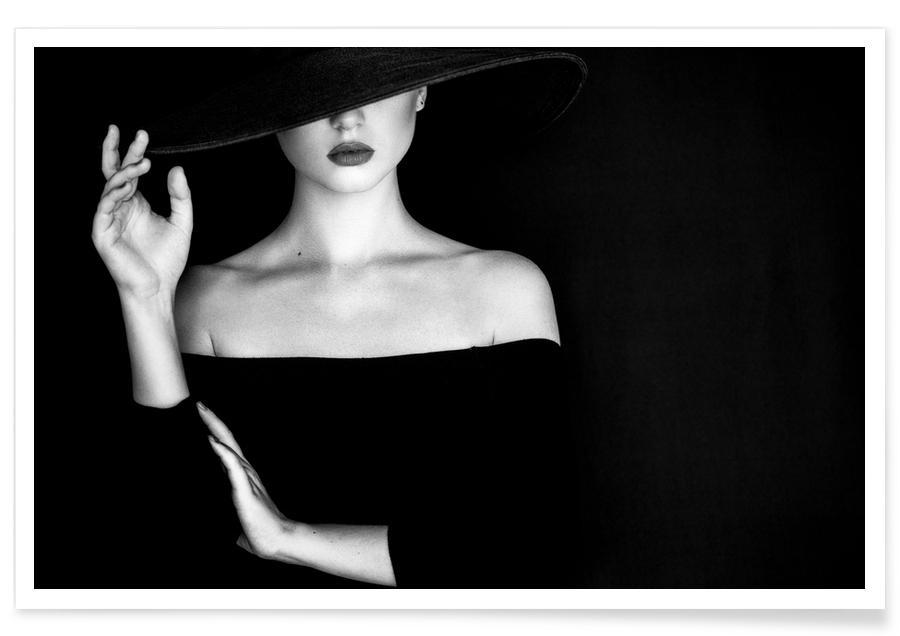 Fashion Photography, Black & White, Mystique Poster