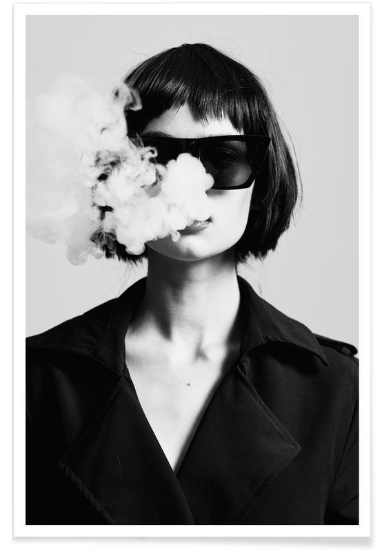 Photos de mode, Noir & blanc, Smoke affiche